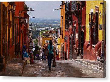 The Top Of Calle Umaran Canvas Print by John  Kolenberg
