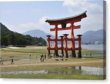 Torii Canvas Print - The Torii At Low Tide At Itsukushima Shrine Miyajima Japan  by Andy Smy