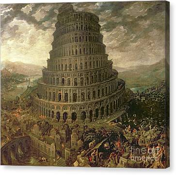 The Tower Of Babel Canvas Print by Tobias Verhaecht