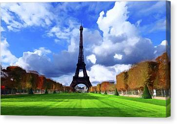 Canvas Print featuring the painting The Tower Paris by David Dehner