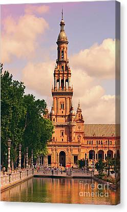 Canvas Print featuring the photograph The Tower - Plaza De Espana by Mary Machare