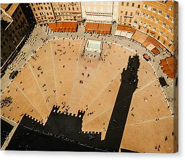 The Tower Shadow In Siena Canvas Print