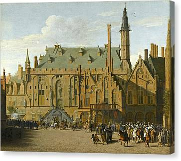 The Town Hall At Haarlem With The Entry Of Prince Maurits To Replace The Governers In 1618 Canvas Print by Pieter Jansz Saenredam