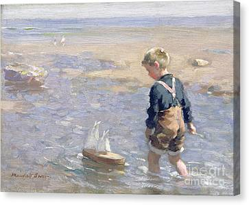 Toy Boat Canvas Print - The Toy Boat by William Marshall Brown