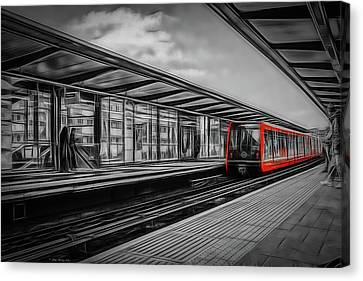 The Train In Red Canvas Print by Peter Sterling