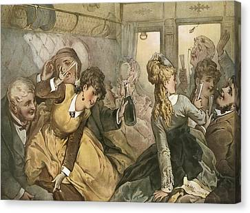 The Train Of Pleasure, Illustration Canvas Print by Vintage Design Pics