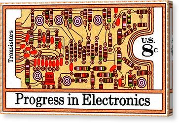 The Transistors And Circuit Board Stamp Canvas Print by Lanjee Chee