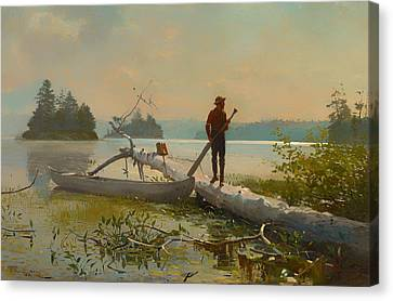 Canoe Canvas Print - The Trapper by Mountain Dreams