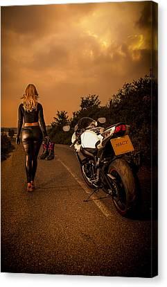 Biker Canvas Print - The Traveler by Paul Neville