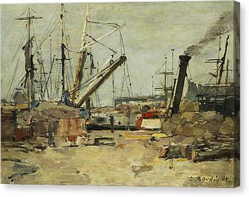 The Trawlers Canvas Print by Eugene Boudin