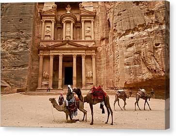 The Treasury Of Petra Canvas Print by Michele Burgess