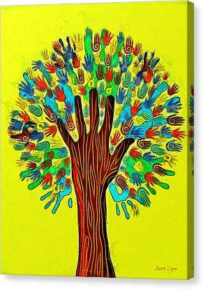 Red Leaf Canvas Print - The Tree Of Hands - Pa by Leonardo Digenio