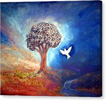 Canvas Print featuring the painting The Tree by Winsome Gunning