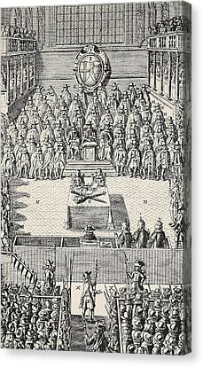 The Trial Of Charles I Canvas Print by English School