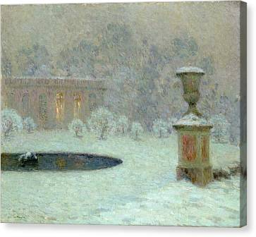 The Trianon Under Snow Canvas Print by Henri Eugene Augustin Le Sidaner