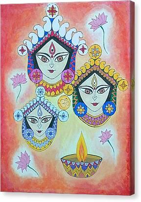 Goddess Durga Canvas Print - The Trinity by Sonia A