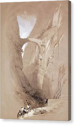 Petra Canvas Print - The Triumphal Arch Crossing The Ravine Leading To Petra, 1839 by David Roberts