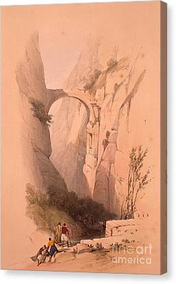 Petra Canvas Print - The Triumphal Arch Crossing The Ravine Leading To Petra by MotionAge Designs