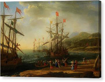 Canvas Print featuring the painting The Trojan Women Setting Fire To The Fleet by Claude Lorrain