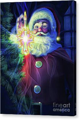 Canvas Print featuring the painting The True Spirit Of Christmas - Bright by Dave Luebbert