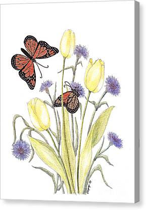 Canvas Print featuring the painting The Tulip And The Butterfly by Stanza Widen