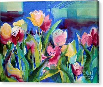 The Tulips Bed Rock Canvas Print by Kathy Braud