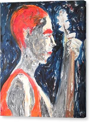 Canvas Print featuring the painting The Turkish Baglama Player by Esther Newman-Cohen