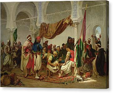 Muslims Canvas Print - The Turkish Cafe by Charles Marie Lhuillier