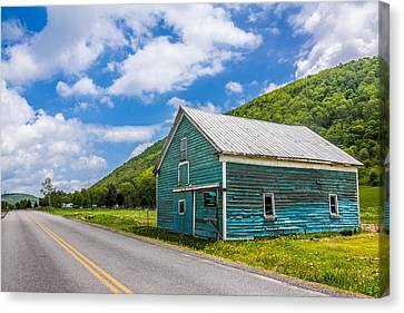 Canvas Print featuring the photograph The Turquoise Barn by Paula Porterfield-Izzo