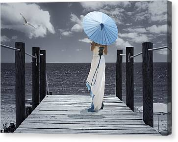 The Turquoise Parasol Canvas Print by Amanda Elwell