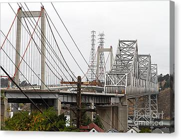 Bayarea Canvas Print - The Two Carquinez Bridges At Crockett And Vallejo California . Aka Alfred Zampa Memorial Bridge . 7d8919 by Wingsdomain Art and Photography