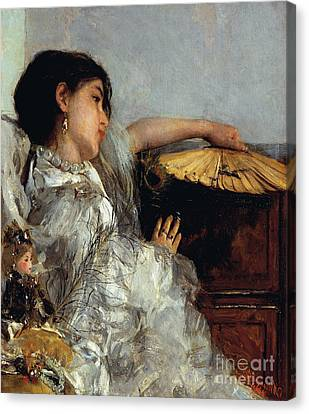 The Two Dolls Or Young Or Oriental Girl With Fan, 1876 Canvas Print by Antonio Mancini