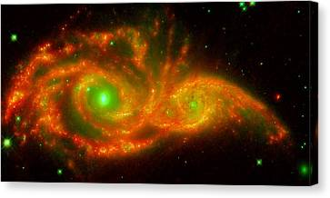The Two Galaxies Ngc 2207 And Ic 2163 In The Canis Major Constellation Canvas Print by American School