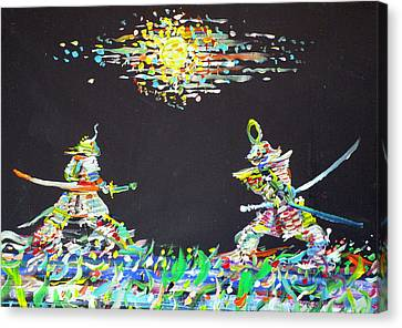 Canvas Print featuring the painting The Two Samurais by Fabrizio Cassetta