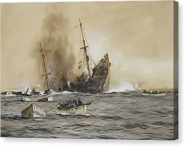 The 'u' Boat 'menace' Canvas Print by Montague Dawson
