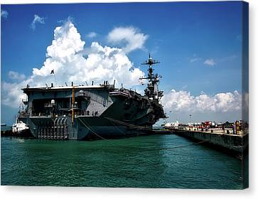 The U S S John C Stennis In Port Canvas Print by Mountain Dreams
