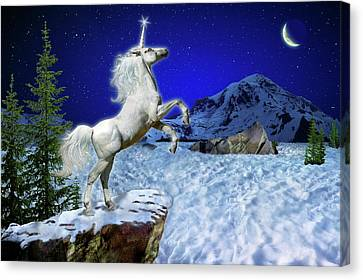 Canvas Print featuring the digital art The Ultimate Return Of Unicorn  by William Lee