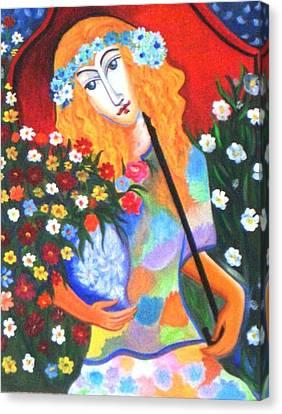 The Umbrella Girl Canvas Print by Xafira Mendonsa