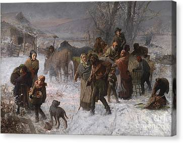 Snow-covered Landscape Canvas Print - The Underground Railroad by Charles T Webber