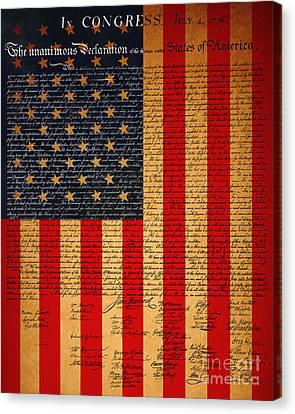 The United States Declaration Of Independence And The American Flag 20130215 Canvas Print by Wingsdomain Art and Photography