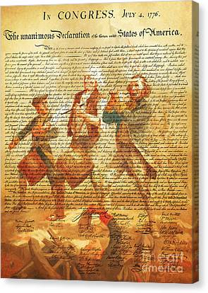 The United States Declaration Of Independence And The Spirit Of 76 20150704v2 Canvas Print by Wingsdomain Art and Photography