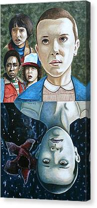 Canvas Print featuring the painting The Upside Down by Al  Molina
