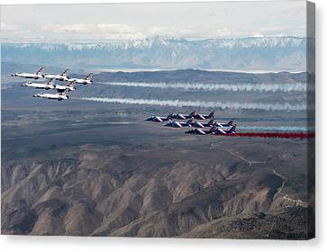 The Us Airforce Thunderbirds And Patrouille Fly Canvas Print by Paul fearn