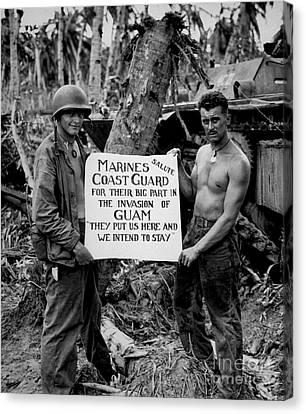 Bravery Canvas Print - The U.s. Marines Salute The U.s. Coast by Stocktrek Images