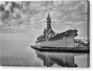 The Uss Alabama In Black And White Canvas Print