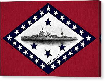 Canvas Print featuring the digital art The Uss Arkansas by JC Findley