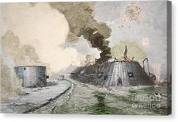 The Uss Monitor Fighting The Css Merrimack At The Battle Of Hampton Broads During The Civil War Canvas Print by American School