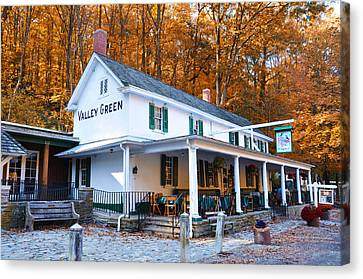 Wissahickon Canvas Print - The Valley Green Inn In Autumn by Bill Cannon