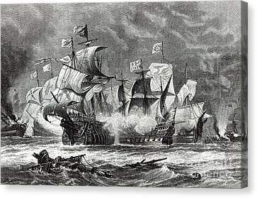 Water Vessels Canvas Print - The Vanguard by Oswald Walters Brierly