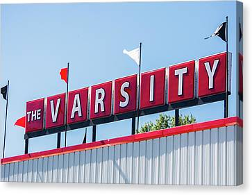 Canvas Print featuring the photograph The Varsity Sign by Parker Cunningham